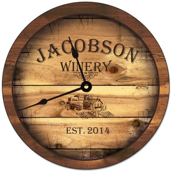 Personalized Family Winery Wall Clock