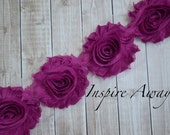 PLUM Shabby Chiffon Flower Trim - Your choice of 1 yard or 1/2 yard -  Chiffon Shabby Rose Trim, DIY headband supplies,