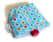 Reusable Snack Bag, Eco Friendly, Gusset and Finger Tabs, Daisies on Aqua, Pink, Blue, Green, Yellow, Orange, Christmas Gift