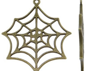 6pc 46x40mm antique bronze finish metal spider web pendant-9515