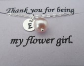 Child Size - SALE 15% OFF - Personalized Initial Charm and Pearl Necklace - Junior Bridesmaid and Flower Girl Gift, Wedding Jewelry Gift