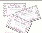 Chevron Diaper Raffle - Baby Shower - Set of 10 Pink and Gray Chevron Instant Download Digital