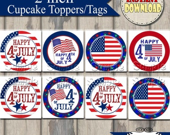Fourth of July Tags and Cupcake Toppers Printable DIY Set of 20 Instant Download 4th of July Independence Day