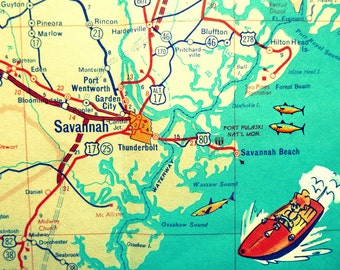 Savannah map Savannah Georgia map print  Hilton Head Island Beach House Map Art Decor kids room art boat photograph GA beach house decor