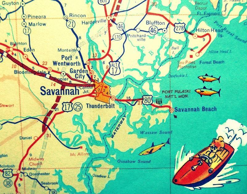 Savannah Map Savannah Georgia Map Print Hilton Head Island