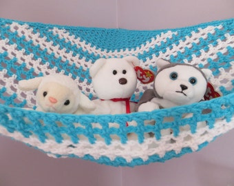 crochet toy   hammock in turquoise and white stripes stuffed animal storage for boys or crochet toy   hammock in colors of your choice made to  rh   etsy