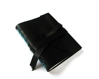 Lined Leather Journal in Black with Double Wrap Tie, Leather Notebook