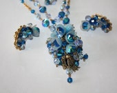 Hobe Necklace Blue Crystal Lariat  Earring Set Vintage 1950s Jewelry Designer