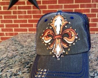 Fleur De Lis Baseball Style Hat EXTRA Bling