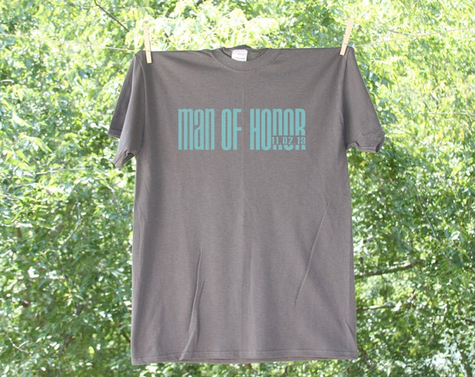Man of Honor Classic Droid with Date Wedding Party Shirt - 20MD
