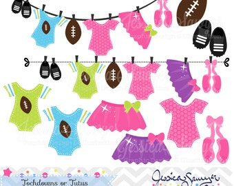 INSTANT DOWNLOAD, touchdowns or tutus clipart, gender reveal clip art, for commercial use, personal use
