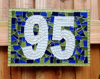 Mosaic House Number Sign // Address Plaque in Lime Green and Navy Blue