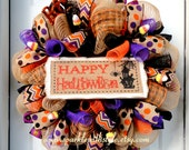 LIMITED AVAILABILITY!!!  Faux Burlap Wreath - Halloween Deco Mesh Wreath - Fall Mesh Wreath - Owl Wreath - Door Hanging