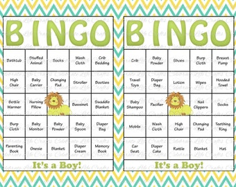 60 Baby Shower Bingo Cards - Printable Party Baby Boy - Instant Download - Blue Yellow Green Lion Baby Shower Gift Bingo B007