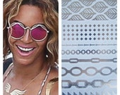 As Seen on Beyonce & Good Morning America - Waterproof Silver Metallic Temporary Tattoos - Silver Chain Set