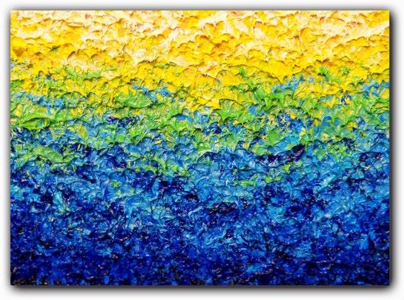 Abstract Painting Blue Green Yellow Original Impasto Wall