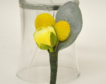 Yellow Boutonniere - Billy Button, Ranunculus, Bud, Lambs Ear, Button Hole, Yellow Wedding Flowers, Groomsmen Bout