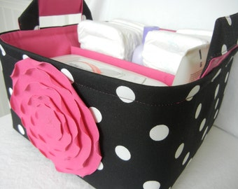 """LG Diaper Caddy(choose COLORS) 10""""x10""""x6""""- One Divider -fabric storage Organizer-Baby Gift-""""Hot Pink  Rose on Black / White Polka Dot"""""""