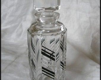 Vintage Art Deco Cut Crystal Decanter Vanity Bottle