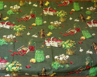 Vintage 1950's Fabric Curtains Fruit And Vegetable Olive Green