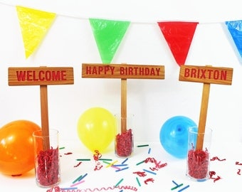 BIRTHDAY PARTY SIGNS, Child's Birthday Decorations, Personalized Birthday Party Signs, Indoor Outdoor Signs