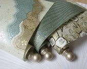 Mint Green and Champagne, Washi paper scrolls with painted wood end caps. For love notes and sentimental gifts.