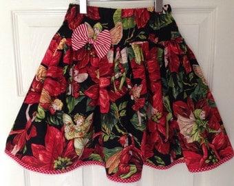 Girls Christmas Skirt : Twirly Made To Order -  Christmas Fairies