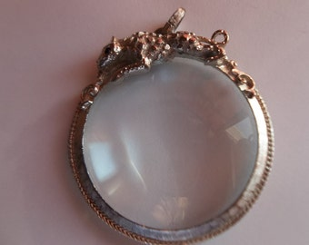 Leopard Magnifying Glass Pendant by Florenza