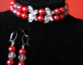 Butterflies in Red Bracelet and Earring Set