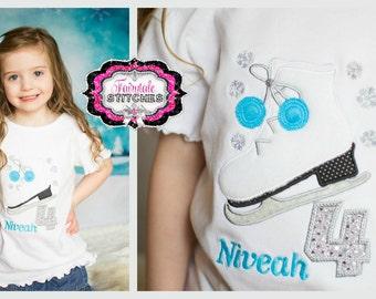 Ice Skate Shirt, Ice Skate Birthday, Winter Birthday, Skate Shirt, Skate Birthday, Snowflake Shirt, Snowflake Birthday, Girl Birthday Shirt