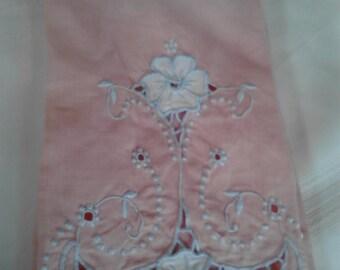 Lovely Vintage Coral Hand Towel / Guest towel/ Tea Towel ECS