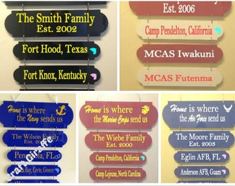 Home is where the military sends us, military duty station sign, Home is where,military, Navy, Army, Air Force, Marines,duty station board