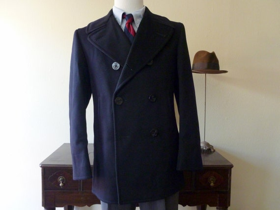 "Mint Condition Vintage 1962 100% Wool US Navy ""Kersey Blue"" Pea Coat 38 R (40 R).  Made in USA."