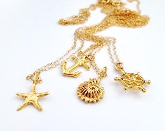Gold Nautical Beach Necklace - Anchor - Starfish - Ship Wheel - Sea Shell