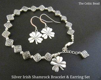 Beautiful Silver Irish Shamrock Celtic Knot Jewelry Set - Bracelet and Earrings