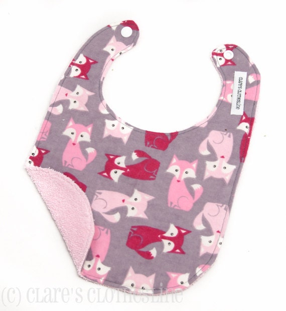Baby Bib - Pink and Gray Foxes Bib - Ready to Ship
