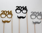 Perfect 2014 Holiday Photo Props - Set of 6 - Gold, Silver and Black Glitter Mustaches - 2013 Glasses - New Years Props - PAPERandPANCAKES