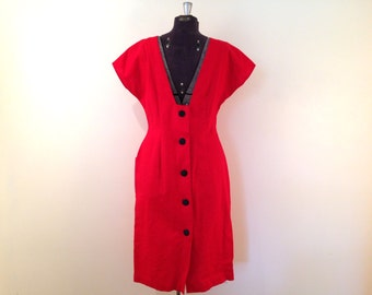 Vintage Red Dress / Large/XL / Bombshell Dress