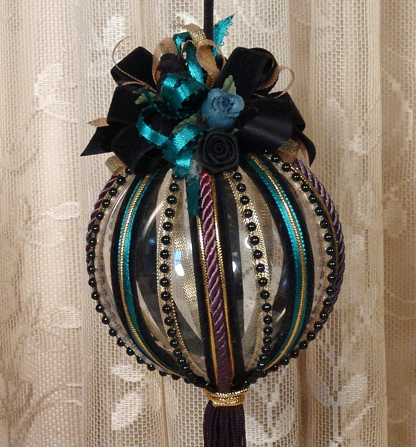 Black Victorian Hanging Christmas Ornament / Vintage Style
