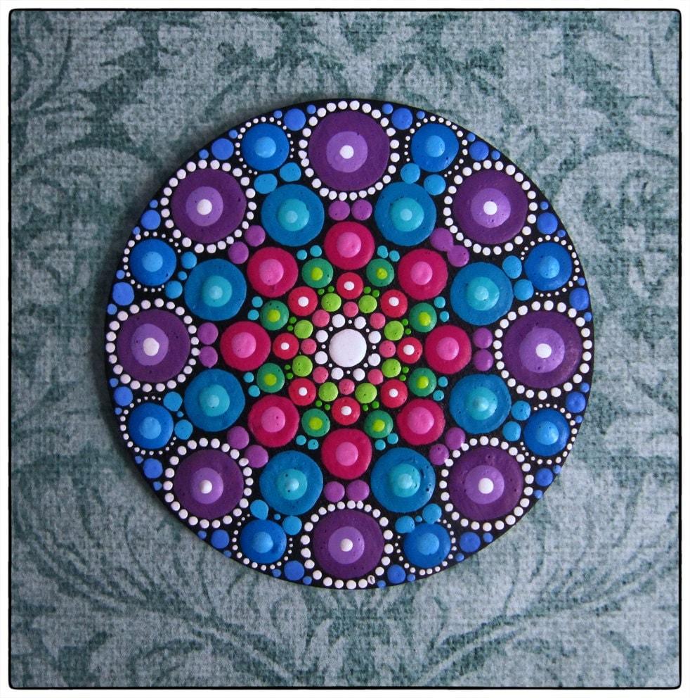 mini original round painting jewel drop mandala grape