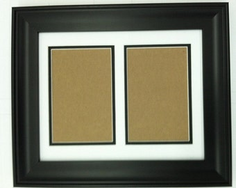11x14 black frame with white black double picture mat bevel cut for 2 5x7 pictures