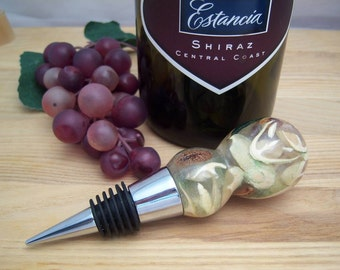 Wine Stopper - Handcrafted Acrylic Resin with Chrome finish