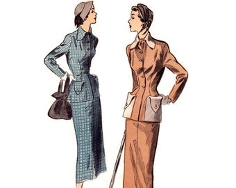 1940s Ladies Suit Pattern, Advance 5310, Long Fitted Jacket with Oversize Pockets & Slim Pencil Skirt, Vintage Sewing Pattern, Bust 32