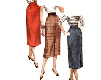 """Vintage 1950s Sewing Pattern - """"One Yard"""" Slim Pencil Skirt with Pleat Details, Simple to Make - 1955 Simplicity 1345, Waist 25"""