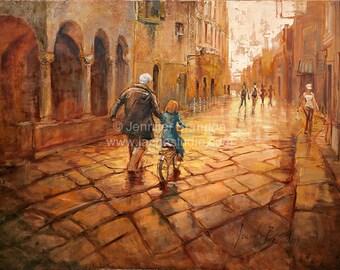 Streets of Sienna - Oil Painting by Jennifer Brandon - Jache Studio