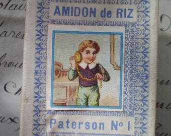 Delightful Antique French Miniature Advertising Amidon Rice / Rice Starch Box-wonderful for Display/Collectors