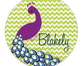 "Peacock Personalized 10"" Melamine Plate, 12 oz. Bowl or 2 Piece Set 