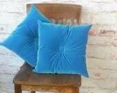 Turquoise Velvet Pillow Set Pair Retro Velvet Turquoise Cushions Tufted Velvet Pillows