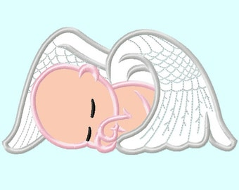 Baby Angel APPLIQUE Embroidery Design 4 sizes  INSTANT DOWNLOAD