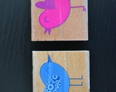 Cute Birds Wood Mounted Rubber Stamps - Set of 2